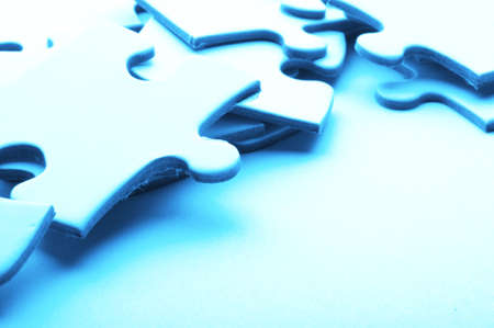 blue puzzle and copyspace for your text message Stock Photo - 7820796