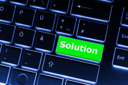 business solutions or problem concept with word on computer keyboard Stock Photo - 7820887