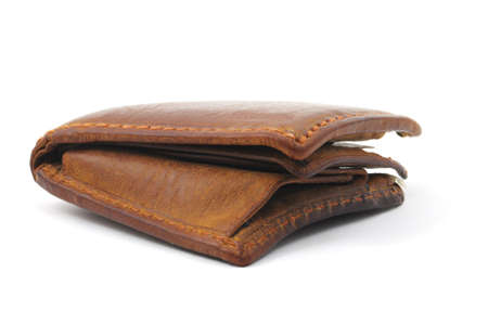brown leather wallet isolated on a white background photo