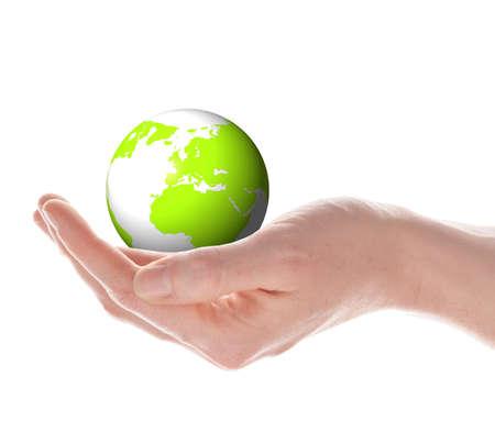 El mundo en su concepto de manos con el planeta tierra aislado en blanco  Foto de archivo - 7880545