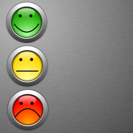 customer satisfaction survey concept with smilie and button Stock Photo - 7880694
