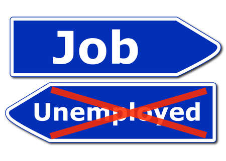 unemployment rate: job work or unemployment concept with road sign isolated on white background