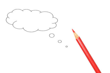 copyspace: talk bubble with copyspace and pen isolated on a white background Stock Photo