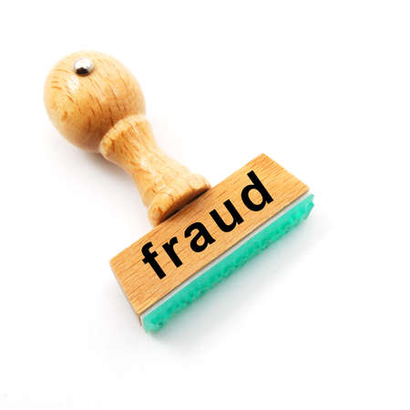 internet fraud: fraud stamp showing crime concept with copyspace Stock Photo