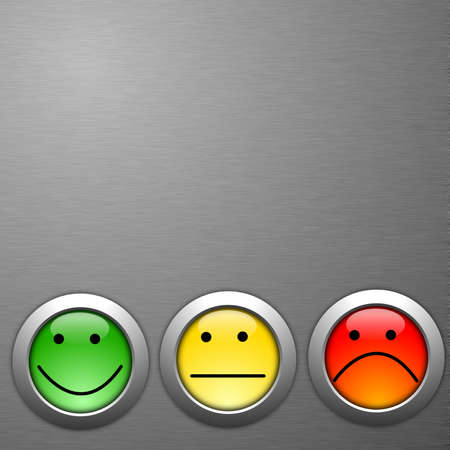 checkbox: concetto di indagine di soddisfazione cliente con smilie e pulsante