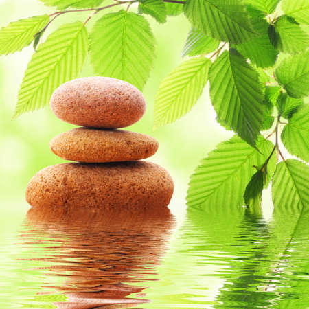 zen stones and green leaves showing spa concept with water reflection Stock Photo