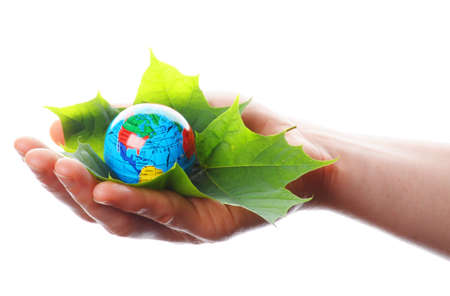 save the world concept with hand leaf and globe Stock Photo - 7974031