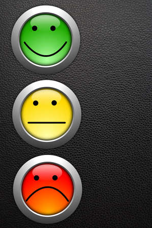 poll or customer satisfaction survey concept with smilie button photo