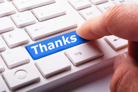 grateful: thanks or thank you concept with word on conputer key or button