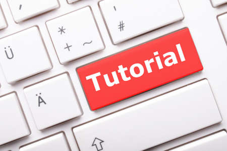 tutorial: tutorial or e learning concept with key on computer keyboard Stock Photo