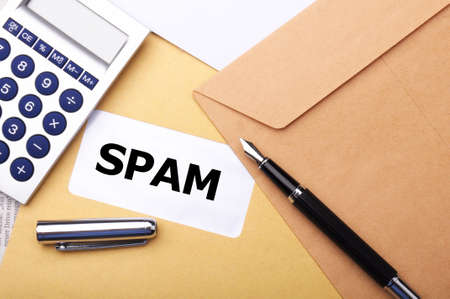 spam mail: spam mail or e-mail concept with word on evelope