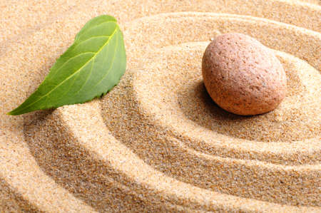 zen garden or spa still life with stone pebble and sand photo