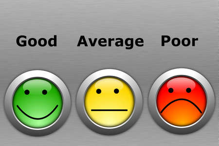 opinion poll: business customer service feedback concept with survey button Stock Photo