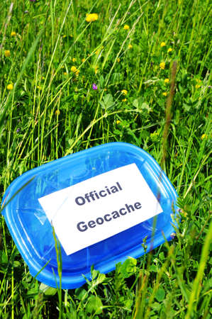 geocaching concept with cache box in nature  photo