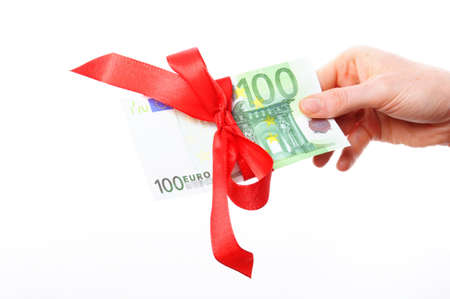 money present with hand isolated on white background