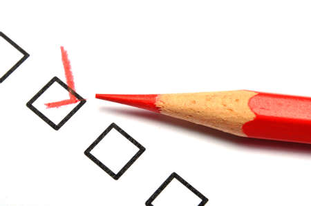 customer service survey with red pencil and checkbox showing satisfaction concept Stock Photo - 8067114