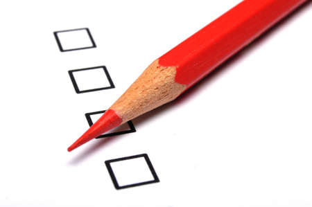 checkbox and pencil showing science education research or customer satisfaction survey concept Stock Photo - 8067111
