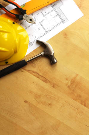 industrie: hard hat hammer and tools with copyspace showing home worker concept Stock Photo
