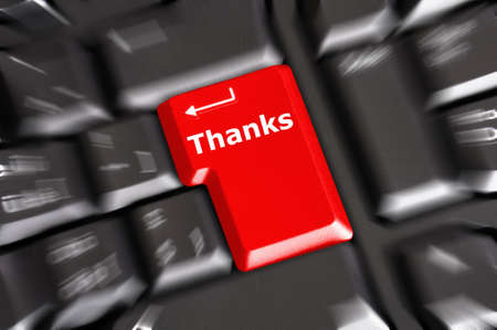 commendation: thanks or thank you concept with word on conputer key or button