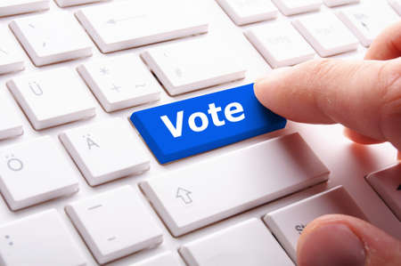 option key: vote word on key or keyboard showing election concept