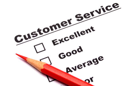 checkbox and red pen showing customer service survey or satisfaction concept to improve sales Stock Photo - 8119820
