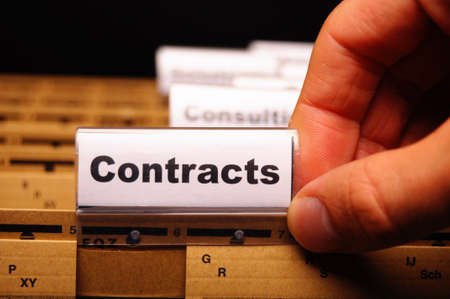 subscribing: contract word on business folder showing trade or financial concept Stock Photo