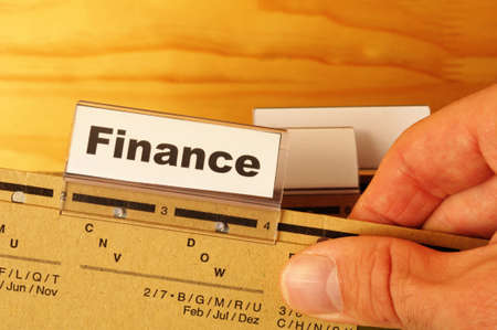 finance on business office folder showing financial success concept Stock Photo - 8119942