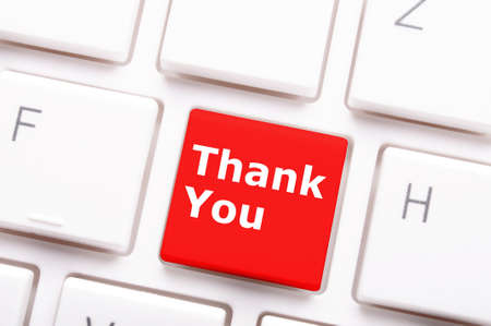thanks or thank you concept with word on conputer key or button Stock Photo - 8119850