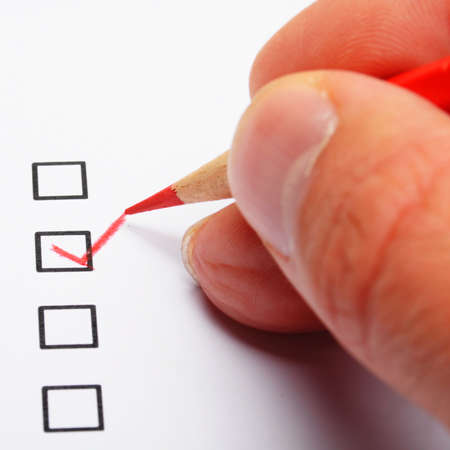 polling: poll or polling concept with checkbox and red pencil showing marketing