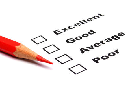 consumer survey with questionnaire checkbox to improve sales Stok Fotoğraf