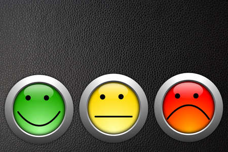 poll or customer satisfaction survey concept with smilie button Stock Photo - 8183248