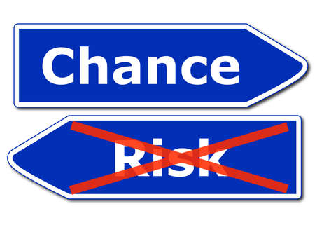 risk management concept with road sign isolated on white background Stock Photo - 8221712