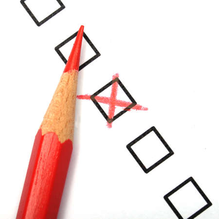 tickbox: consumer survey with questionnaire checkbox to improve sales Stock Photo