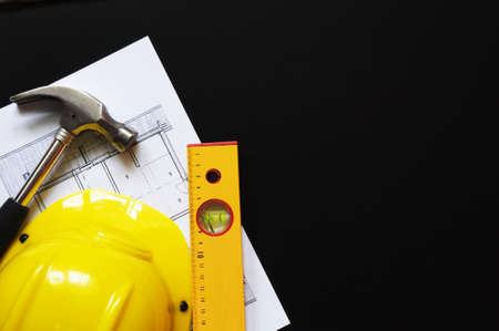 hard hat hammer and tools with copyspace showing home worker concept Stock Photo - 8221725
