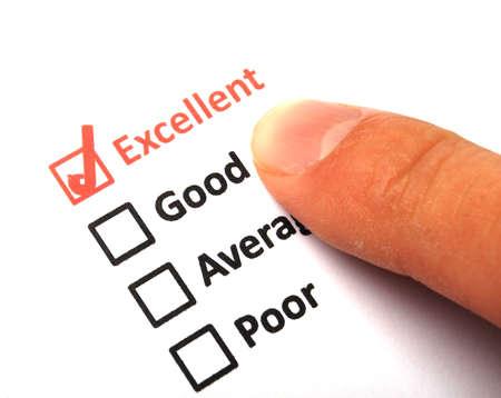 questionaire: casilla de verificaci�n y rojo l�piz mostrar al cliente servicio encuesta o satisfacci�n concepto para mejorar ventas
