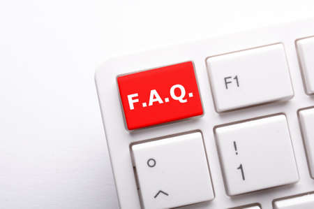 faq frequently asked questions key on computer keyboard