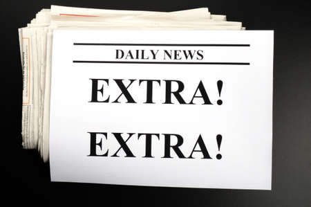 extra: newspaper newsletter or news concept with pile of papers Stock Photo