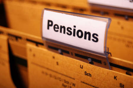 pension pension or retirement concept with word on business office folder index Stock Photo - 8399526