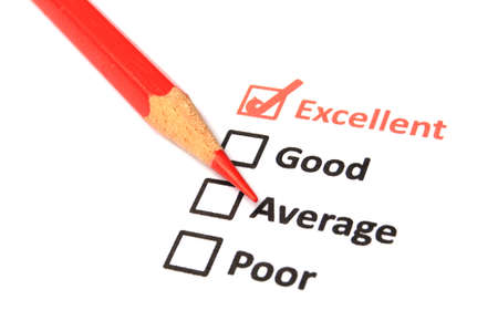 excellent or good marketing customer service survey with red pencil and checkbox Stock Photo - 8399421