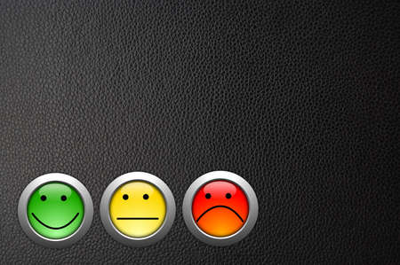 opinions: customer satisfaction survey concept with smilie and button
