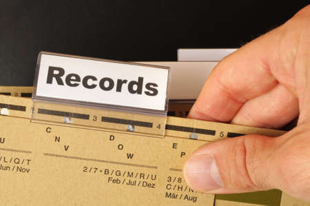 medical report: records word on business folder index showing office concept