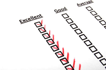 questionaire: quality survey form with red pencil showing marketing concept