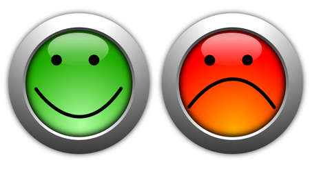poll or customer satisfaction survey concept with smilie button Stock Photo - 8423943