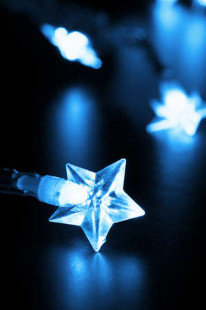 xmas or christmas holiday star lights with copyspace photo