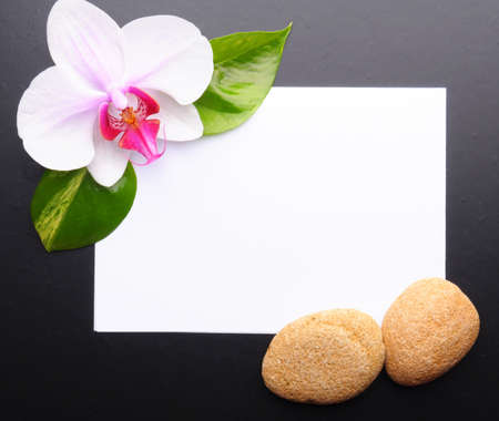 zen or spa stones with blank and empty copyspace paper photo