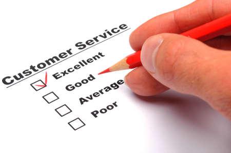 formulario de encuesta de satisfacci�n del cliente con la casilla de verificaci�n Mostrar el concepto de marketing Foto de archivo - 8469834