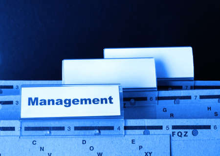 decission: management word on business office folder showing leadership concept Stock Photo