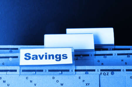 savings word on business folder showing saving money concept Stock Photo - 8469890