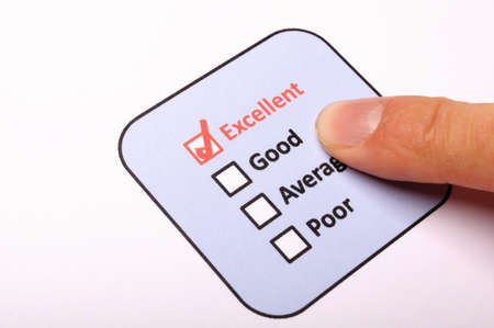 poll or polling concept with checkbox and red pencil showing marketing photo