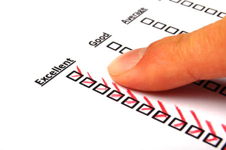 customer service survey with red pencil and checkbox showing satisfaction concept photo
